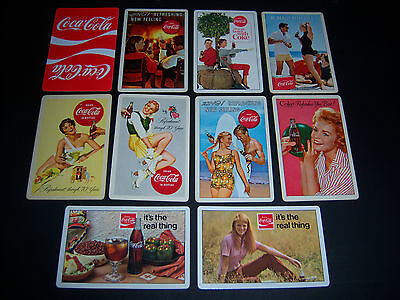 (10) single COCA COLA playing cards - VINTAGE - surfing BEACH bowling PIN UP