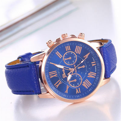 New Fashion Womens Casual Leather Band Stainless Steel Quartz Analog Wrist Watch