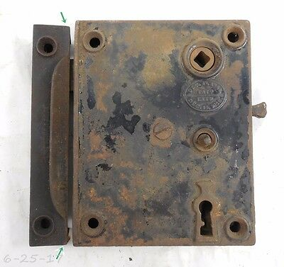 Large Antique Cast Iron 1856 Rim Surface Door Lock With Keeper Maid Lock