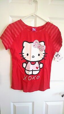 12394576 Girls Hello Kitty Valentine T Shirt Red XOXO Love Heart Two Side XL 14/16