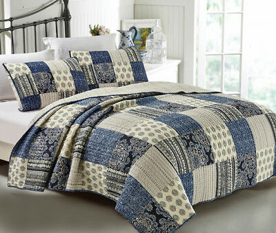 French Country Style Quilt Le HAVRE New Patchwork Coverlet incl 2 pillowcases