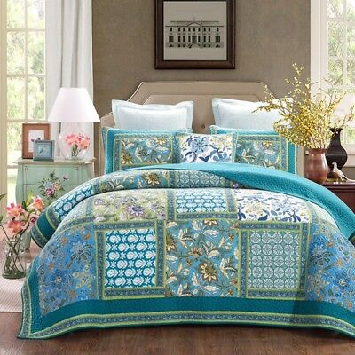French Country Style Bed Quilt AVIGNON New Patchwork Coverlet incl 2 pillowcases