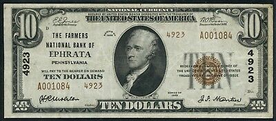 Fr1801-2 Ch #4923 $10 1929 National Ephrata, Pa (Only 3 Known) Xf Type 2 Hw3633
