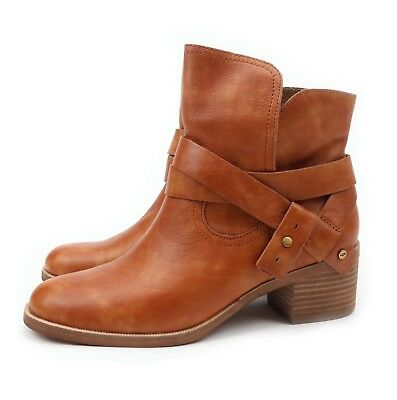 48bb52ee9d8 UGG ELORA LEATHER Chestnut Ankle Heel Boots Booties Size Us 9.5 ...