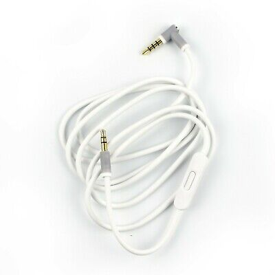 Audio Cable 3.5mm/ L Cord/ for Beats by Dr Dre Headphones Aux & Mic WHITE COLOR