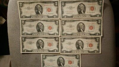 SEVEN 1953 TWO Dollar BILL . UNITED STATES NOTE. Red Seal SERIES A