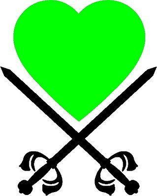 30 Custom Green Heart With Swords Personalized Address Labels