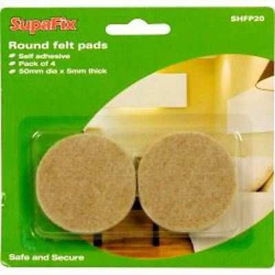 Supafix Laminate Wood Floor Felt Pads Protector Pack Of 4 50mm Round Pads