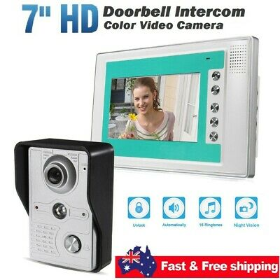 7'' Video Door Bell Phone Doorbell Intercom Camera Security Indoor Night Vision