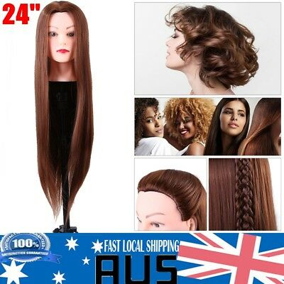 24'' Long Hair Training Head Practice Salon Hairdressing Mannequin Doll Model