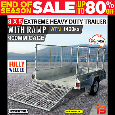 New XTREME 8x5 Box Trailer Galvanized Tipper Fully Welded RAMP CAGE