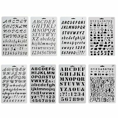 8x DIY Alphanumeric Letter Journal Plastic Planner Stencil Drawing Template AU