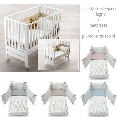 Culla Lettino In Legno Co-Sleeping Contact + Piumone Paracolpi Azzurra Design