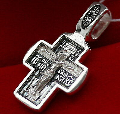 Guardian Angel And Child Protective Crucifix Russian Orthodox Solid Silver 925