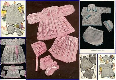 60+ Baby Vintage Knitting & Crochet Patterns 2 & 3 ply Feather Fan Pippy Shell