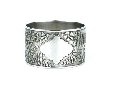 Antique Victorian Silver Plated Napkin Ring Maidenhair Fern Blank c.1890