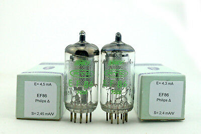 EF86 Philips Δ SNCF matched pair Vacuum Tube, Valve, Röhren, tested, NOS, NIB