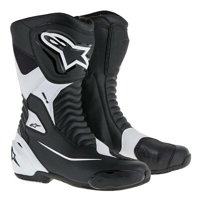 Alpinestars SMX S Black / White Motorcycle Motorbike Racing Boots | All Sizes