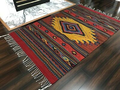 """AUTHENTIC Hand-Woven 48"""" x 78"""" Mexican Zapotec Loom Rug from Oaxaca Mexico"""