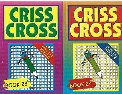2 Criss Cross Letters Brain Game Books 140 + Puzzles In Each Book 23 & 24 Free P