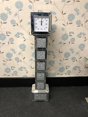Tall Mirrored Glass Crushed Crystals Square Grandfather Standing Clock