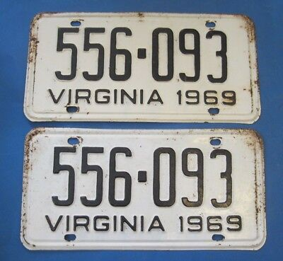 Matched Pair 1969 Virginia License Plates