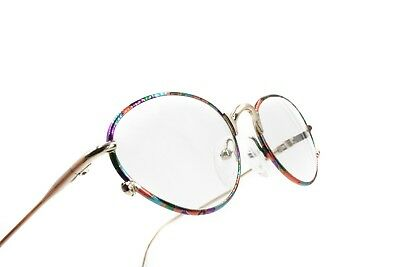 Oval frame eyeglasses pale golden & rainbow colors , adorned perimeter, Vintage