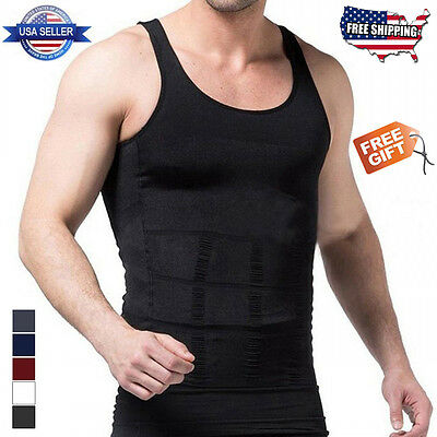 Men's Body Shaper Slimming Abdomen Compression Vest Shirt Tank Top FREE GIFT!