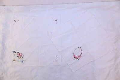 Vintage LOT of 2 HANDKERCHIEFS HANKIES EMBROIDERED FLORAL DESIGNS