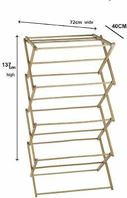 Classic Vintage Traditional Beech Wooden Folding Clothes Airer Horse Beige JVL