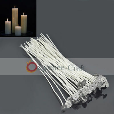 50 Pcs Pretabbed Candle Wicks Cotton Core Waxed Tabbed Candle Making Supplies
