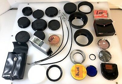 Vintage Lot of Camera Parts  Lens covers Filters Flash Shutter Releases Nikon
