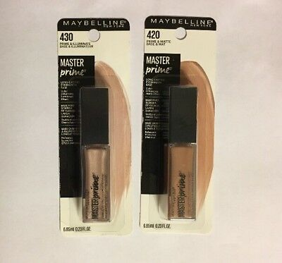 Maybelline Master Prime Shadow Base MATTE 420 & ILLUMINATE 430 Lot of 2 *NEW*