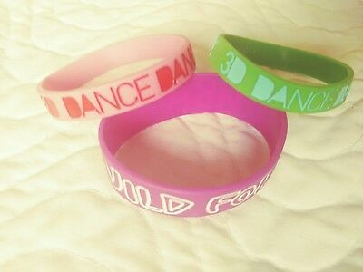 ZUMBA Fitness Rubber Bracelets Lot of 3 Pink Green Pre owned
