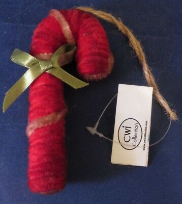 Christmas Primitive Rustic Country Style Chenille Candy Cane Ornament