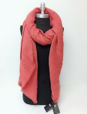 New ABS Over-sized Crinkle Oblong Scarf w/Self Fringes Soft Wrap Shawl Rust Warm