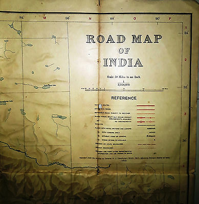 Rare Vintage Road Map Of India 1933