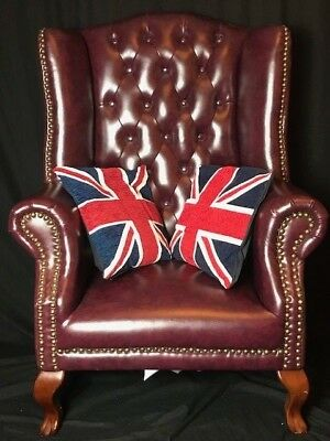1 Large King Handmade Chesterfield Style Leather Tall Wingback Armchair Oxblood