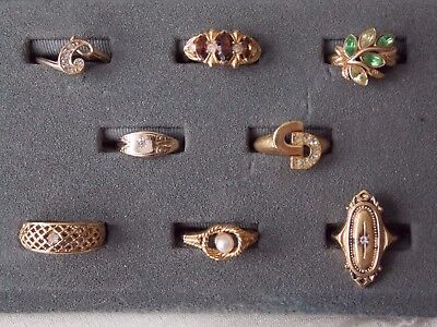 Lot of 8 Vintage Avon Gold Plated Costume Jewelry Rings Sizes 5 1/2-8