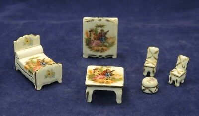 6 Piece Limoges Miniature Bedroom Suite Bed Table Wardrobe 2 Chairs Stool #3