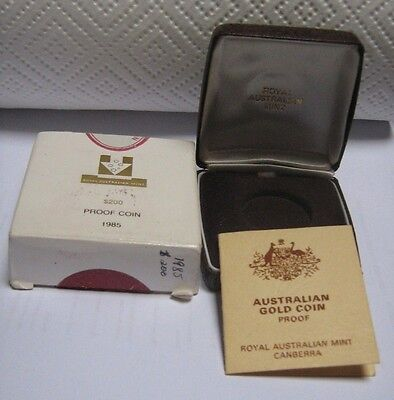 Empty Box for 1985 200 Dollar Gold Proof Coin With Certificate and Outer Box