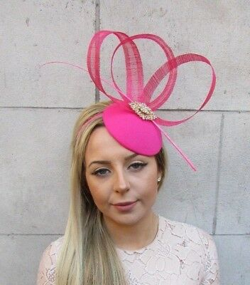 Hot Pink Gold Sinamay Feather Flower Pillbox Hat Fascinator Races Ascot Vtg 5171