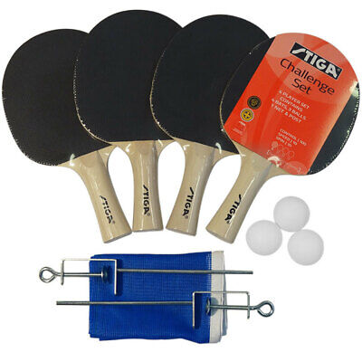 Stiga Challenge Table Tennis Kit Ping Pong Set w/ 3 Balls 4 Racket Bats Net Post