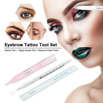 3Pcs Tattoo Tool Set Tattooing Skin Marker Pen, Eyebrow Measure Paper Ruler H3G9