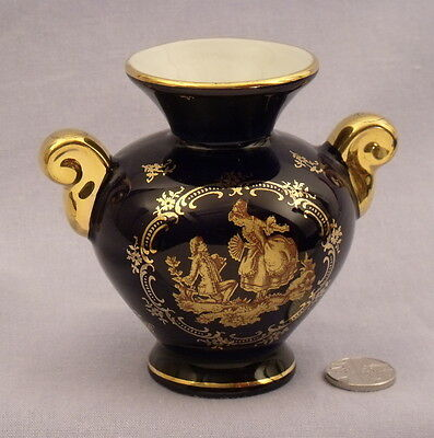 Dark blue Limoges small vase with 18th century lovers
