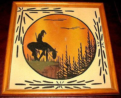 """VTG Native American Navajo Sand Painting """"End of the Trail"""" Framed & Unsigned"""
