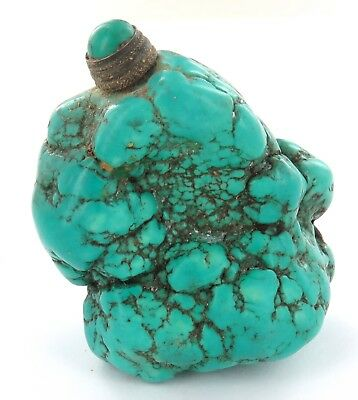 .stunning / Rare / Vintage Chinese Turquoise Snuff Bottle Made From Solid Stone