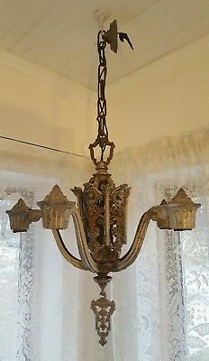 ANTIQUE VINTAGE Art Deco RIDDLE Co. Ceiling Light Fixture CHANDELIER 5 Light 20s