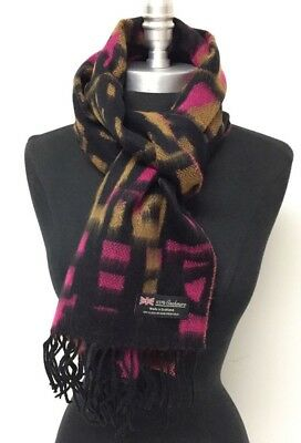 New 100% Cashmere Scarf Wrap SCOTLAND Warm Soft Wool Color Black/Yellow/Hot Pink