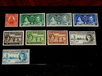 Turks & Caicos stamps - 9 early mint hinged stamps - very nice !